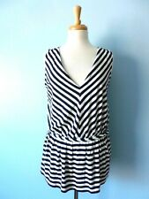 Talbots Petites Blue Striped Stretchy Pleated Sleeveless Tee Top Blouse Women S