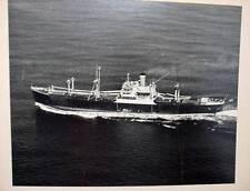 Vintage Black and White Photo Steamship Unknown Tramp Steamer Bulk Carrier