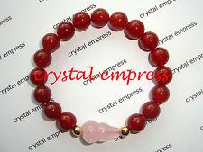 Feng Shui - Red Agate with Rose Quartz Wu Lou Kids Bracelet
