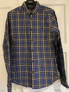 BEN SHERMAN Mens Button down collar long sleeve shirt blue brown check Medium