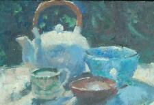 Impressionist Oil on Board Still Life With Teapot by Listed Artist Susan Grisell