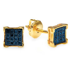 0 10 Ct 18k Yellow Gold Plated Sterling Silver Blue Diamond Mens Stud Earrings