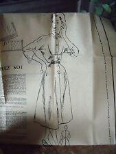 66 ANCIEN PATRON MODES ET TRAVAUX ROBE OFFICIER   1952 T 40/44/48 N 621