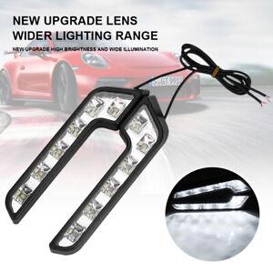 2x Universal Car L Shaped 6 LED White 12V Driving Fog Light Lamp DRL Waterproof
