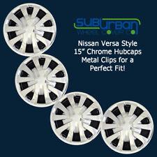 "FITS '12-18 Nissan Versa 15"" CHROME Hubcaps / Wheel Covers NEW SET 4 # 496-15C"