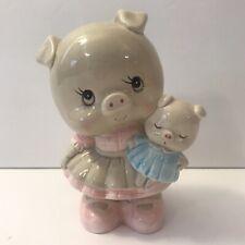 "Vintage 6.5"" Lefton China Piggy Bank Girl Pink Dress Holding Baby Blue 03329"