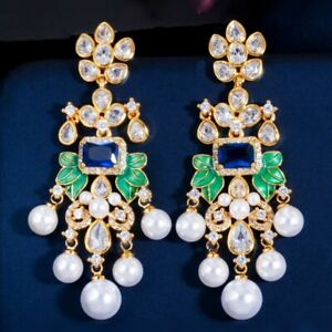 Thick 18K Gold GF Cubic Zirconia Pearl Leafs Plant Luxury Chandelier Earrings