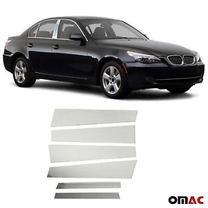 Fits BMW 5 Series E60 2004-2010 Chrome Window Panel B Pillar Trim S.Steel 6 Pcs