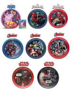 Kids Character Premium Licensed Wall Clock 25cm-Spiderman,Peppa Pig, Avengers