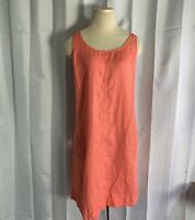 J Jill Love Linen Sleeveless Shift Dress Tunic Midi Coral Peach Pockets Medium