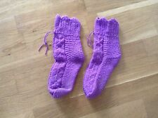 Hand knitted socks. Kids, knitted from 100% wool yarn.Purple Size: 10-11.5 UK