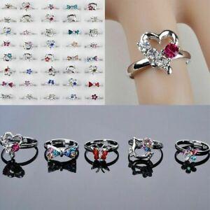 1/5/7 pcs Mixed Jewellery girls ring  Crystal Rings Children Kids Band Ring uk