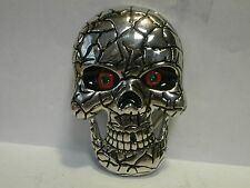 SILVER TONE  BLACK ENAMEL WITH BLACK AND RED ENAMEL EYES WITH GREEN HRINESTONES