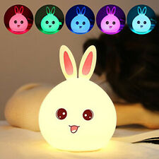 Silicone USB Cute Bunny Rabbit Baby LED Night Light 7 Colors Breathing Lamp
