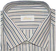 $600 NWT BRIONI TAUPE WHITE BLUE & BEIGE STRIPE SUMMER COTTON LINEN SHIRT 15.5