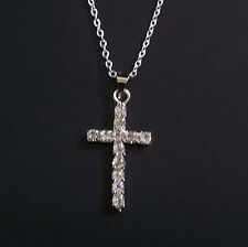 Small Silver Plated Diamante Cross and Chain
