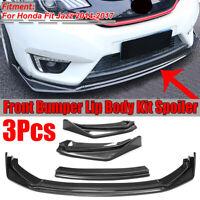 3PCs Carbon Black Front Bumper Lip Body Kit Spoiler For Honda Fit Jazz 14-17