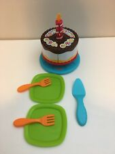 Fisher Price Servin' Surprise Birthday Cake Set COMPLETE Pretend Play Food Plate