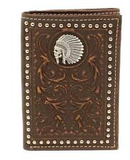 Ariat Western Mens Wallet Leather Trifold Embossed Indian Chief Skull A3537202