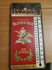 """Vintage Anheuser Busch Budweiser King Of Beers Wooden 17.5"""" Thermometer works"""