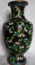 """ANTIQUE CHINESE Cloisonne Vase Enamel on Bronze MANY FLOWERS 11,5"""" NICE"""