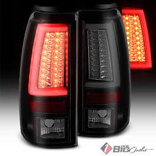For 03-06 Silverado/Sierra Mystery Blk Smoke LED Tail Lights w/ Fiber Optic Tube