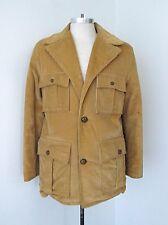 VGC Vtg 70s Brown Corduroy Safari Clicker Disco Pimp Car Coat Fur Lining 40