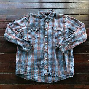 Rusty Striped Long Sleeve Logo Button Mens Shirt Size L