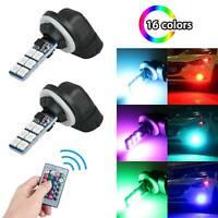 2PCS 12SMD RGB LED Car Headlight Fog Light Lamp Bulb Remote Control 881 5050 12V