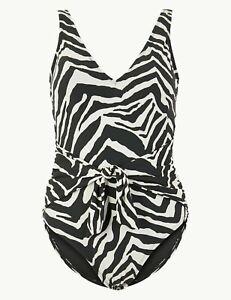 Lovely BNWT M&S Secret Slimming Sunsmart zebra plunge Staynew swimsuits 12 20