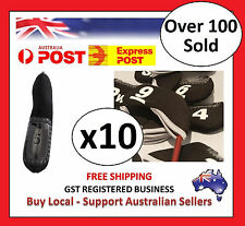10 x BLACK GOLF IRON HEAD COVERS with Numbers Both Side and Display Window Cover