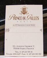 Rare Vintage Matchbook Cover J2 Paris France Prince De Galles Luxury Hotel Georg