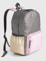 NWT $45 GAP Kids Girls Multi-stripe Sequin Logo Gray Felt Tote Handbag Bag