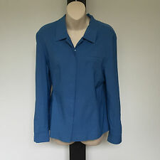 'ANTHEA CRAWFORD' EC SIZE '10' BLUE ZIP FRONT LONG SLEEVE JACKET
