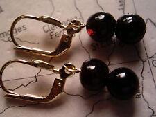 rote Granat Ohrhänger lang Gold 333, Ohrhänger Gold 333 mit Granat Kugeln 7 mm