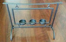 3 tier tea light candle holder.  Metal.  Gray