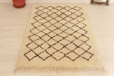 """Authentic Moroccan Beni Ourain Rug 5'9""""x2'8""""Azilal Vintage Handmade Berber Rug"""