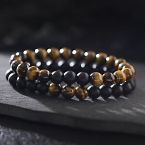 Charm Men Classic Matte Onyx Tiger Eye Stone Beaded Healing Bracelets Boyfriend