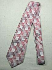 Vintage Men's Necktie Tie Classic Style Pink White Silk Thatch Shiny Formal