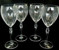 """SPRING PETALS by Mikasa Crystal Water Goblets Glasses 8 3/4"""" tall  Set of 4"""