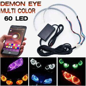 RGB bluetooth LED Demon Devil Eye Halo Ring Headlight Projector Retrofit Light