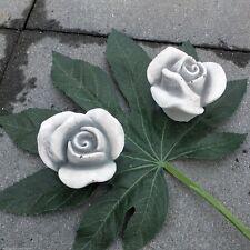 2 x Stein Blüten Frostfest Garten Deko Steinguss Skulptur Rosenblüte Rose