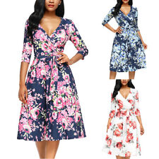 Floral Print Waist Tie Wrap Dress Deep V neck Vintage Retro Beach Short Sundress