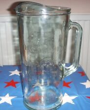 LARGE HEAVY THICK EMBOSSED GLASS BACARDI COCKTAIL JUG