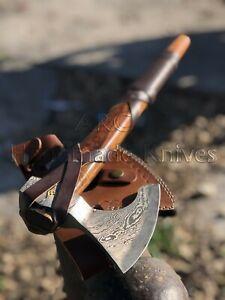 CUSTOM MADE HAND FORGED DAMASCUS STEEL RAGNAR LOTHBROK VIKING AXE HATCHET-SHEATH
