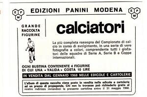 modulo buono cedola cartolina PANINI CALCIATORI 1968 PER ALBUM GRATUITO