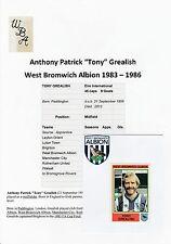 TONY GREALISH WEST BROMICH ALBION 83-86 RARE ORIG SIGNED FIGURINE PANINI STICKER