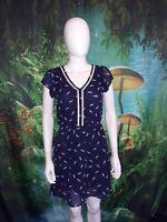 Womens Maison Jules Navy Blue Feather Print Dress size XS (B)