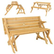 2 in 1 Wood Outdoor Interchangeable Picnic Table Garden Bench Patio Seating Yard
