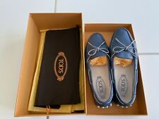 Tods Women Loafers Blue White Size 36.5